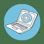 Plandisc on laptop icon blue
