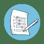 Plandisc and planner checklist icon blue